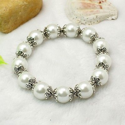 Fashion Glass Pearl Bracelets, with Tibetan Style Bead Caps and Elastic Crystal Thread, White, 55mm