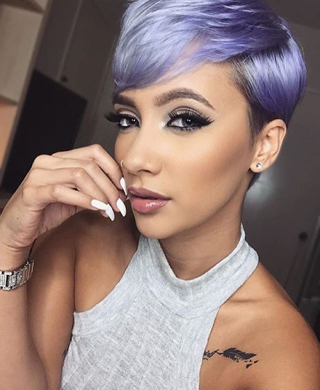 HAIRSPIRATION| Color crushing on #MUA @lani.true's purple #pixiecut✂️ The #haircolor is beyond gorgeous on her and her #makeup is FLAWLESS #voiceofhair ========================= Go to VoiceOfHair.com ========================= Find hairstyles and hair tips! =========================