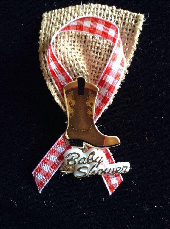Western baby shower guest pins