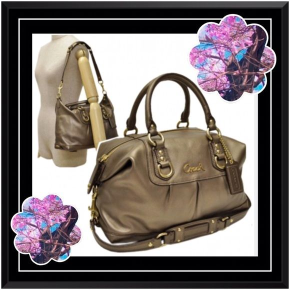 coach leather handbags outlet d7r0  Coach Ashley in Dark Gold Bronze Fiinal$