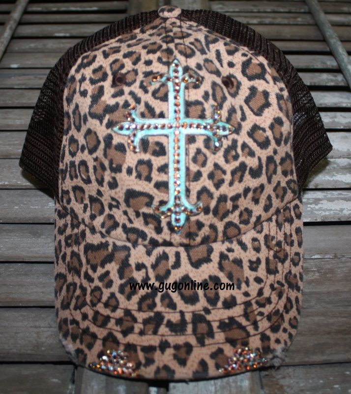 Cheetah Print Baseball Cap with Turquoise Cross with AB Swarovski Crystals   44.95 www.gugonline. c4f5b7746ee