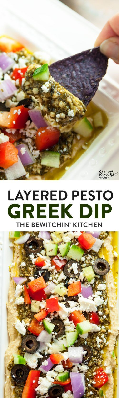 Layered Pesto Greek Dip - EASIEST DIP RECIPE EVER! This Mediterranean inspired appetizer uses hummus, pesto, feta, peppers, olives, and cucumbers. Goes great with veggies and chips. 21 Day Fix approved and a healthy appetizer recipe.