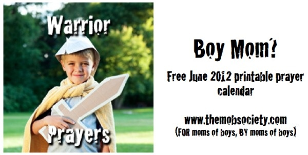 FREE June 2012 printable prayer calendar from the MOB Society!