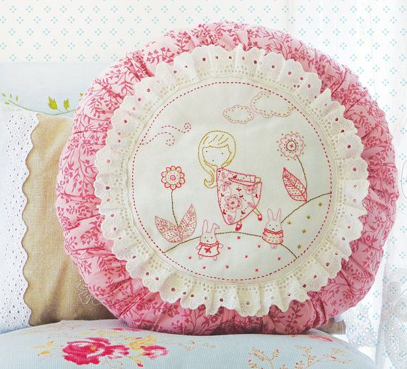 Embroidery Kit, Hand embroidery design - Girl and 2 Bunnies