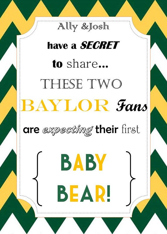 #Baylor Pregnancy Announcement! Cute! BearItAllDesigns, $12.00Pregnancy Announcements, Personalized Invitations, Sic Ems Bears, Future, Long Time, Baylor Stuff, Baylor Pregnancy, Etsy Shops, Baylor Bears