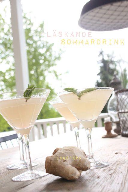Sommardrink med rabarber och ingefära