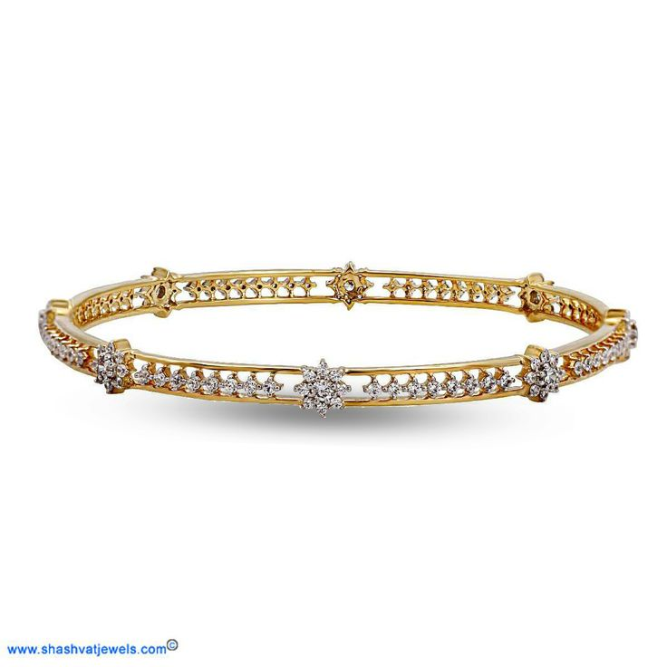 A timeless beauty designed in gold and diamonds, the floral bangle is a graceful piece of jewellery that can be worn on a daily basis. Trendy and feminine, the floral bangle can be passed on from one generation to the next. The mentioned price indicates for the single bangle. #diamond #bangle #for #her http://www.shashvatjewels.com/ProductDetail.aspx?prdid=791&name=The%20Floral%20Bangle All our designs are available in white gold and silver..!!