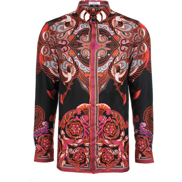 Versace Collection Batik Print Silk Shirt ($655) ❤ liked on Polyvore featuring men's fashion, men's clothing, men's shirts, men's casual shirts, batik bay mens silk shirts, mens silk shirt, batik bay mens shirts, versace mens shirt and mens slim fit casual shirts