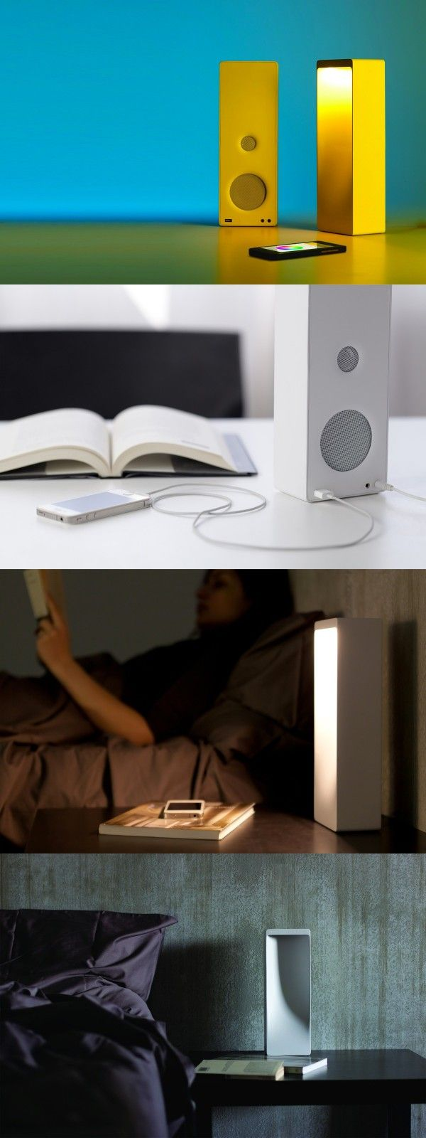 The Cromatica Bluetooth Speaker + Lamp provides a source of warm sound and warm light, allowing users to program the light to change along with the sound.