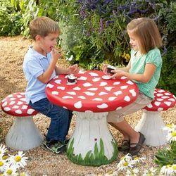 Mushroom Table and Stools