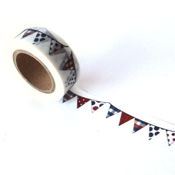 Washi Tape Blue And Red Party Banner No 811 15mm X 10m Red Party Washi Tape Paper Straws Flags