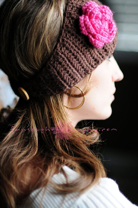 CROCHET PATTERN - Rose Headwrap. $3.99, via Etsy.