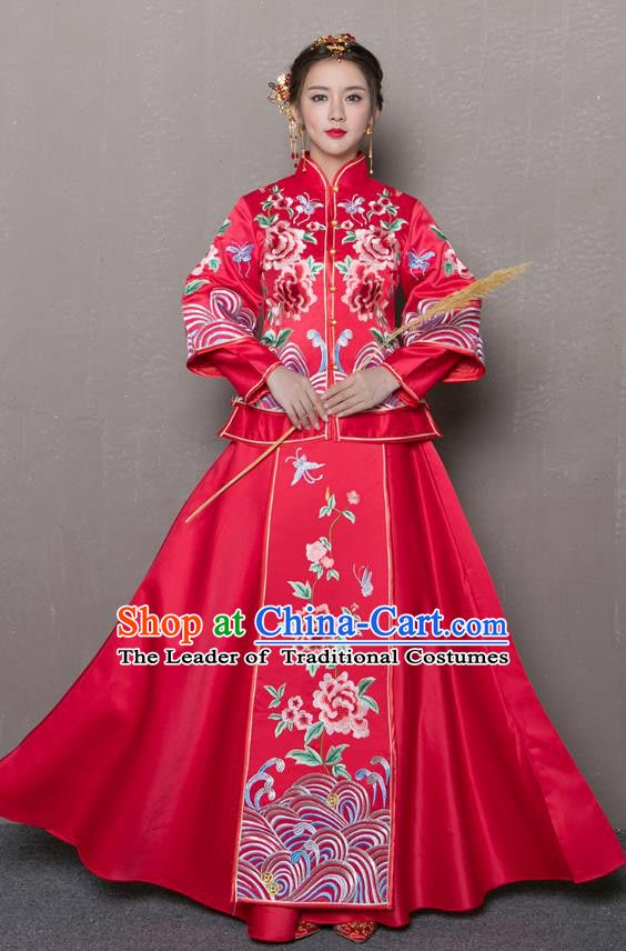 0f40c6e8bc Traditional Chinese Wedding Costumes Traditional Xiuhe Suits Wedding Bride  Dress Ancient Chinese bridal hair Accessory Headwear
