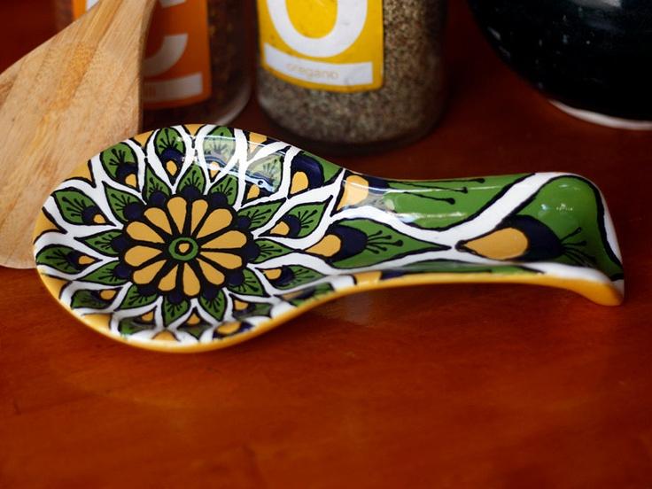 Yellow, Green & Blue Peacock Talavera Style Ceramic Spoon Rest. $24.95, via Etsy.