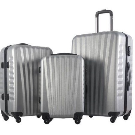 Merax Luggage 3-Piece Set ABS Material Suitcase, Silver