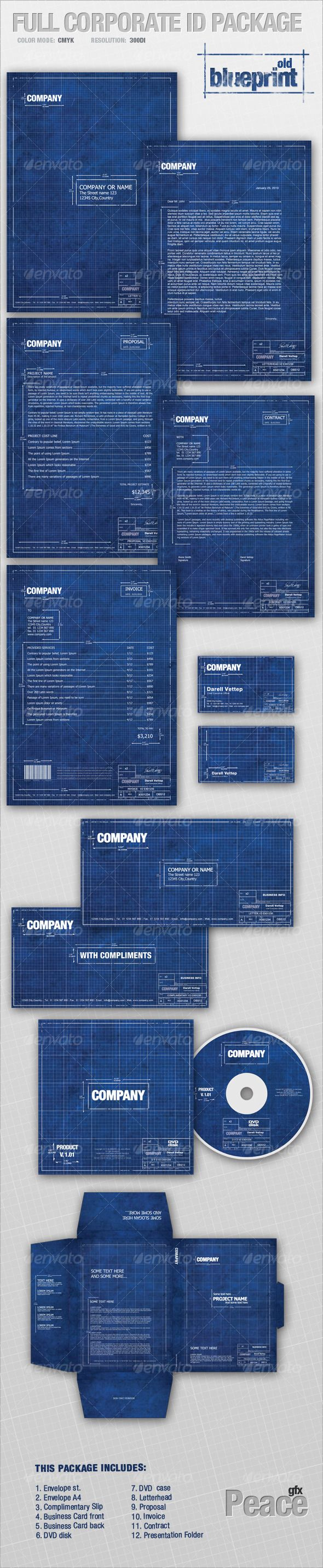 Corporate Identity is perfect way to create complete corporate style vitally important for any business. This is a High Quality package of complete printer-ready files for all the stationery needs of a business.  THIS PACKAGE CONTAINS : fully editable files, Envelope, Envelope C4, Complimentary Slip, Letterhead, Invoice, Proposal, Contract, Business Card, CD/DVD case, & disk, Presentation Folder    PSD Templates – $8.99  Finishing & Printed Lots Pricing Upon Request  Digital Delivery…
