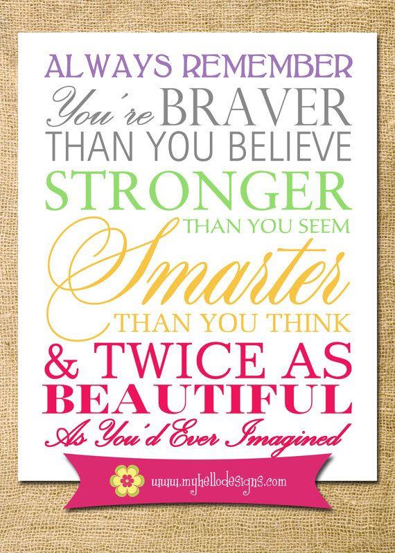 Girl Nursery Art - Baby Girl Toddler Rules - Girl Decor Playroom Bedroom Room Wall Art Print Quotes Stronger Braver Beautiful Smarter