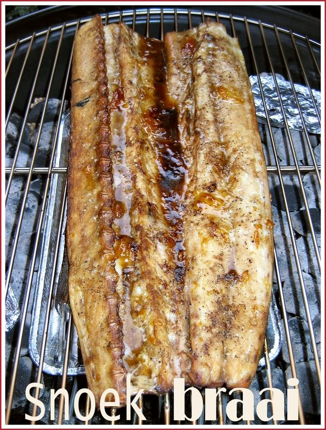 Snoek Braai.  Snoek is the local name for a species of pike that inhabits the waters around the South African coast.  The flesh is firm and succulent,   Delicious cooked on hot coals or smoked.