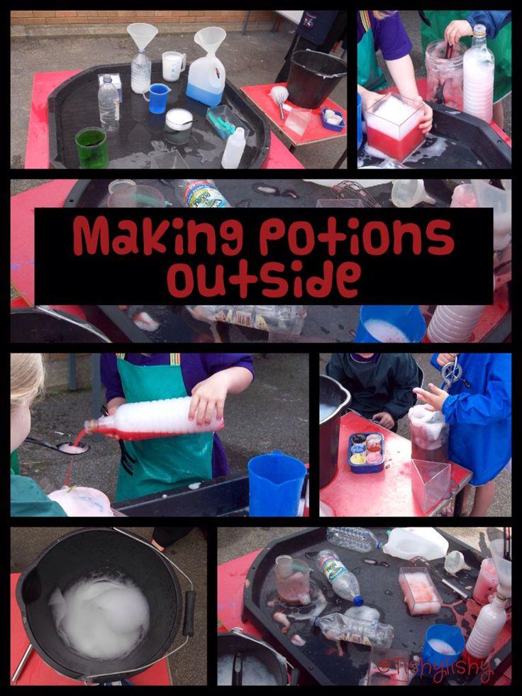 Making potions is an all time favourite. and so easy to do, Plastic bottles and funnels and plenty of water and powder paint or food colouring. This activity can cover almost every area of development in the Eyfs. What would make it even more exciting is if it was cooked up in the mud kitchen!! Role play, counting, measuring, colour recognition, language development, explaining and planning what to do next, sharing and many many more great learning opportunities :) v x
