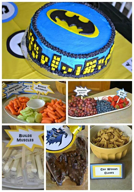 signs for snacks at Caleb's Batman party. Also, add a Batman symbol to the top of the Oreo ice cream cake.