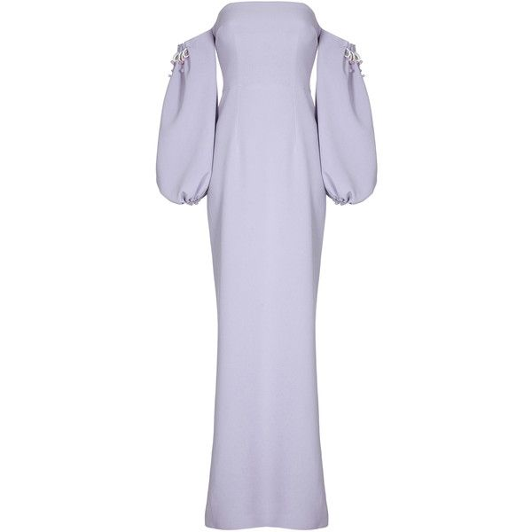 Safiyaa Jade Off-The-Shoulder Puff Sleeve Dress (€1.410) ❤ liked on Polyvore featuring dresses, purple, off shoulder maxi dress, purple maxi dress, off the shoulder long dress, puffy sleeve dress and puffed sleeve dress