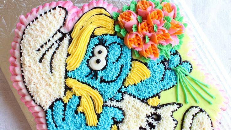 Buttercream Smurfette Cake - How to make a Smurf's cake - Star Tip Cake Decorating