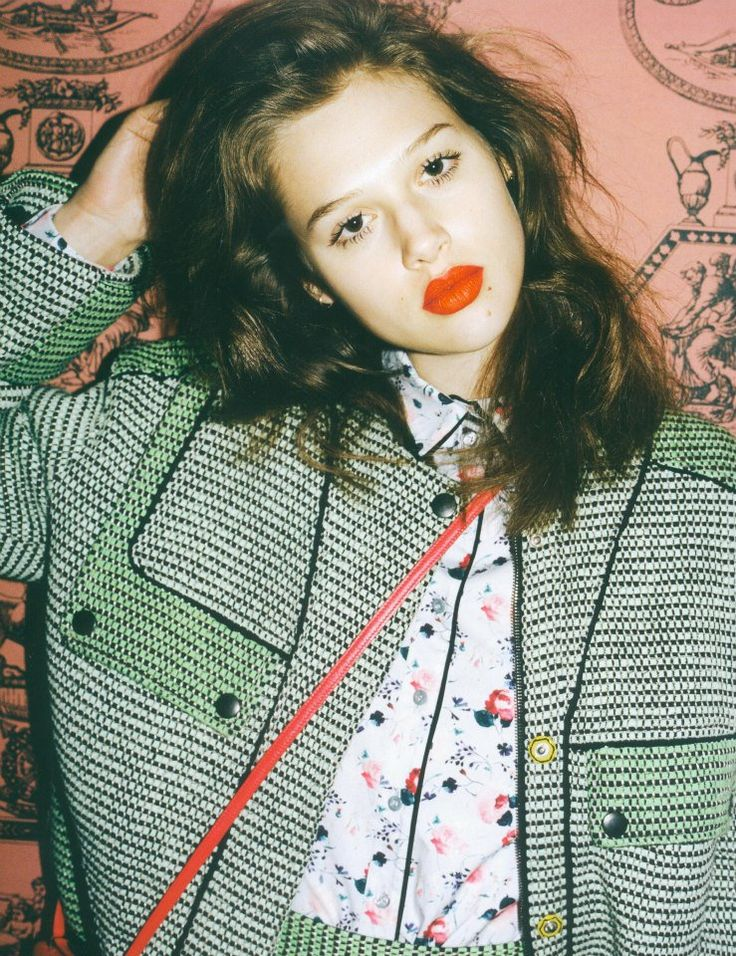 patterned jacket + red lips.