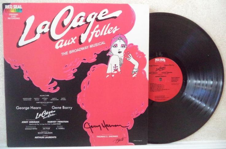 JERRY HERMAN MUSICAL COMPOSER LA CAGE SIGNED AUTO VINYL RECORD ALBUM W/COA