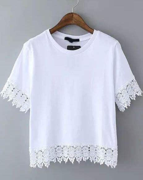 White Short Sleeve Lace Embroidered Cropped T-Shirt from Augustine's. Saved to Quick Saves.