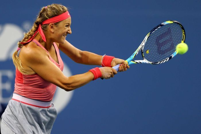 Second seed Victoria Azarenka moved through to the semi-finals of the US Open following a clinical straight-sets defeat of Daniela Hantuchova. (via @Gary Meadowcroft YANG News, AFP; photo via Getty Images)