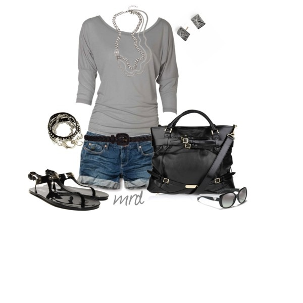 Black & Grey, created by michelled2711 on PolyvoreStyle, Day Outfit, Clothing, Grey Outfit, Night Outfit, Fashionista Trends, Summer Outfits, Black Grey, Dreams Closets
