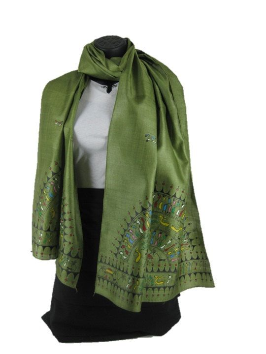 ****** Mother Earth *****    With the soothing olive green on this Tussar silk scarf, you get a feel of that clean green statement; rich and abounding in its simplicity, and ready to envelope you in its summery embrace. The hand painted panels depict scenes of celebration and revelry in a traditional East Indian art form.    Women's Traditional Hand Painted Scarf by ArachneStyle on Etsy, $80.00