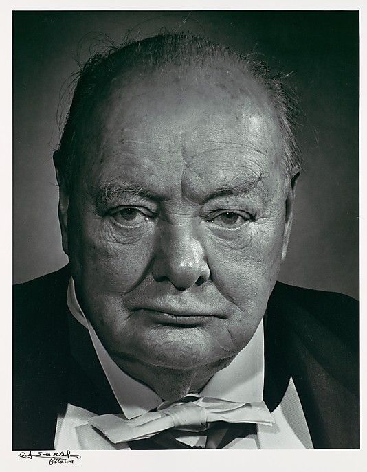 Winston Churchill, by Yousuf Karsh. 출처: http://www.metmuseum.org/Collections/search-the-collections/190016610#