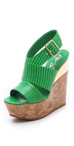 alice + olivia Steffie Embossed Wedge Sandals