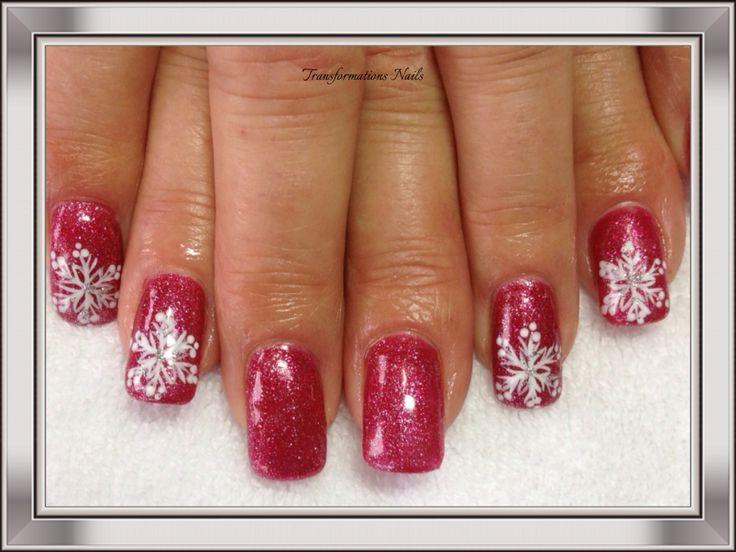 #snowflake nails  #christmax nails #art #nails by #transformations Nails #freehand  #nail art #funky nail #prink nails #sparkle nail.