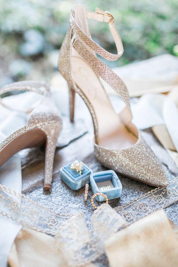 bridal shoes and rings - photo by Natalie Schutt Photography http://ruffledblog.com/modern-gatsby-wedding-inspiration