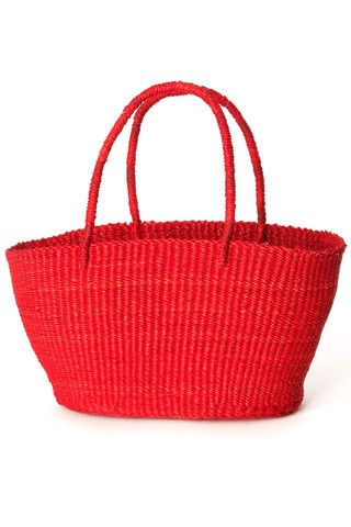 Red Ghanaian Petite Market Shopper Tote