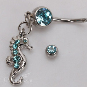 Seahorse Style Rhinestone Navel Belly Button Ring Body Piercing
