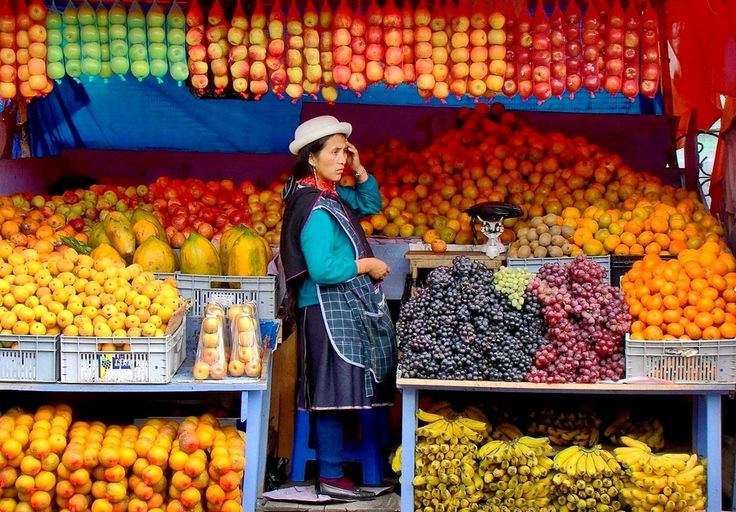 A woman from Otavalo selling her fruits at the famous market , Otavalo , Ecuador .
