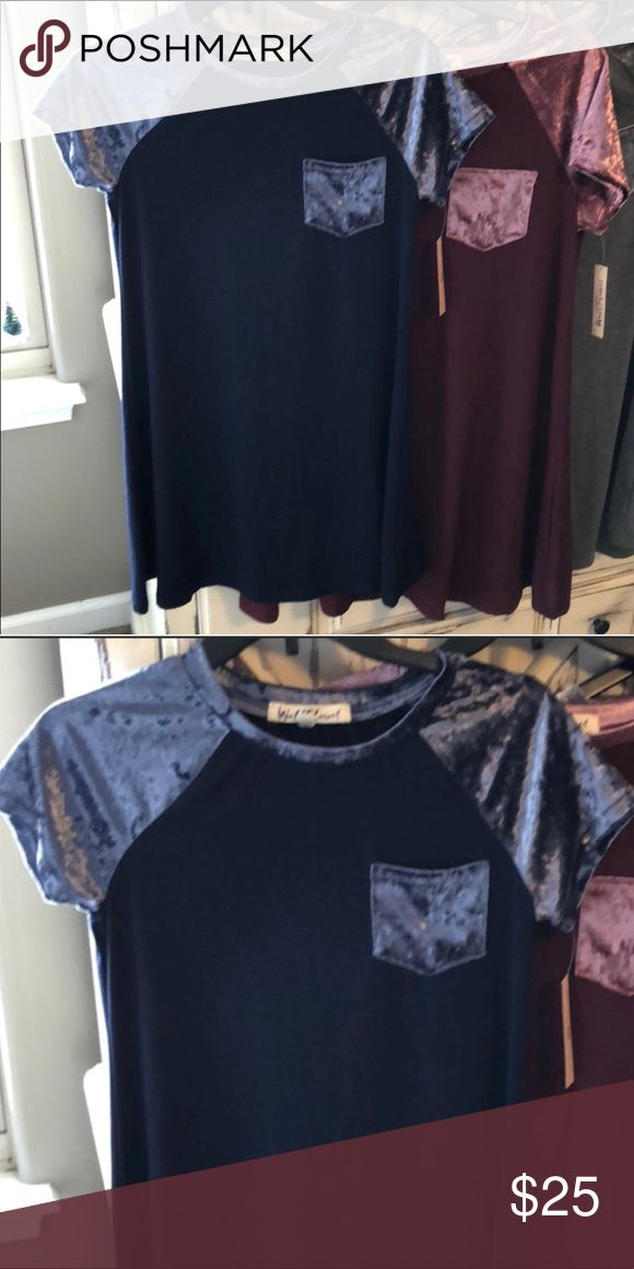 🌟🆕Soft #Navy #Blue #Velvet A-line #Tunic Top NWT A supremely soft tunic that can be worn as an A-line shirt shift dress or a longer tunic. Would be ideal with leggings. Or a mini/pencil skirt.   Navy Blue w velvet sleeves and pocket.   NWT🌟 Price Firm🌹 Twice Chic Boutique Tops Tunics