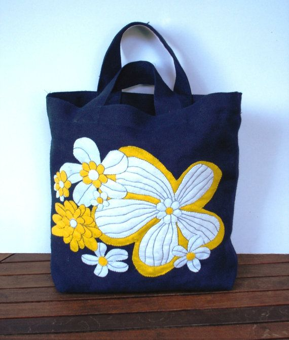 Blue jute tote bag hand applique with yellow/white tropical