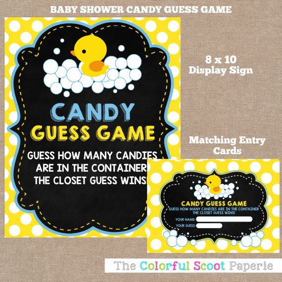 Instant Download Rubber Duck Baby Shower Candy Guess Game