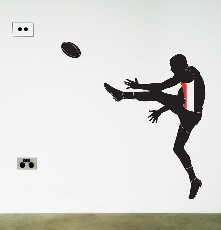 Custom Saint Kilda Footy Player wall sticker. Got a favourite AFL team? You can now update your walls with our removable decal. https://www.moonfacestudio.com.au/product-page/australian-footy-player-vinyl-wall-sticker-decal #wallsticker #australiandesign #australian #homedecor