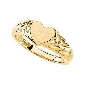 14K Yellow Gold Signet Heart Wedding Ring