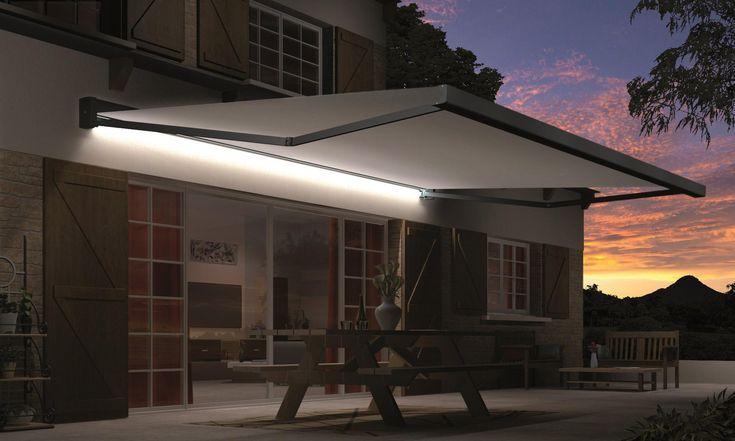 Store banne motorisé 4 x 3.5 m LED gris ardoise, Loft XL