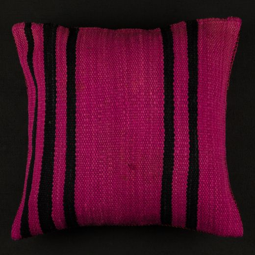 Berber Stripe Cushion Black Pink African Furniture