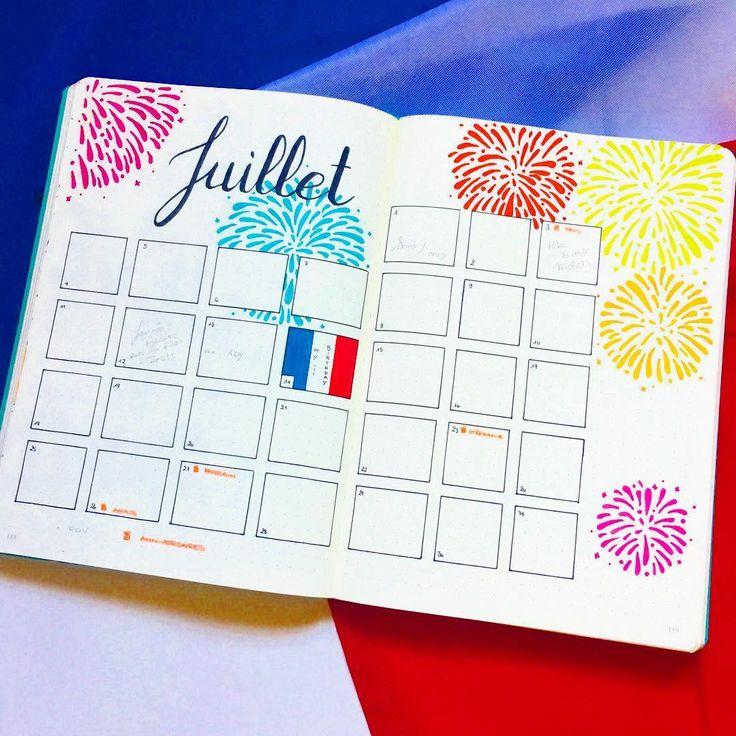 Bullet Journal - July Monthly Spread ✒ [ Insta @lafilleaucarnet ]