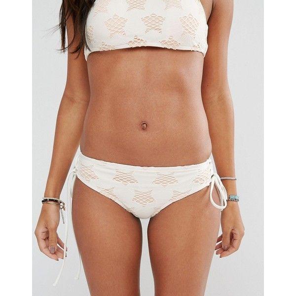 Billabong Star Lattice Bikini Bottom ($17) ❤ liked on Polyvore featuring swimwear, bikinis, bikini bottoms, white, cut out bikini, bikini swimwear, white swim cover up, swim bikini and beach bikini