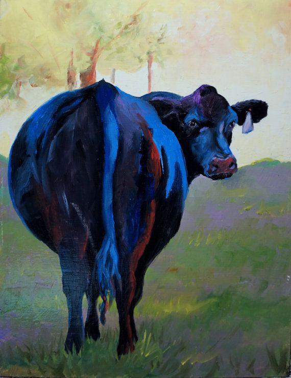 Black Cow Looking Back is a 9x11.6 original by AnnettaGregoryArt, $69.95