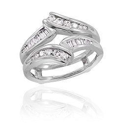 round and baguette cut diamond ring guard in 14k white gold 12 cttw - Wedding Ring Guard